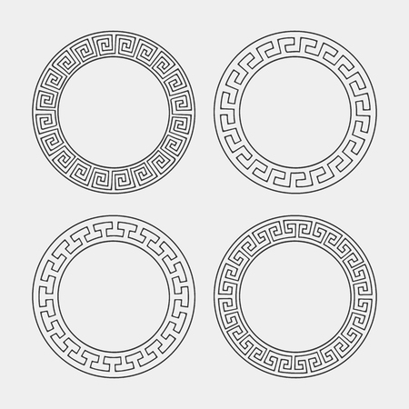 Vector set of four round meander frames. Greek hand drawn border for banner, card, invitation, postcard, label, poster, emblem and other design elements. Vector isolated illustration.  イラスト・ベクター素材