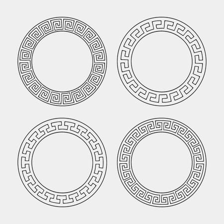 greek: Vector set of four round meander frames. Greek hand drawn border for banner, card, invitation, postcard, label, poster, emblem and other design elements. Vector isolated illustration. Illustration