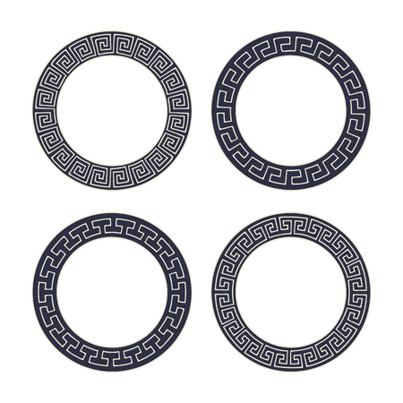 Vector set of four round meander frames. Greek hand drawn border for banner, card, invitation, postcard, label, poster, emblem and other design elements. Vector isolated illustration. 矢量图像