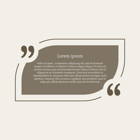 citation: Quotation mark speech bubble. Empty quote blank citation template. Rounded rectangle design element for business card, paper sheet, information, note, message, motivation, comment. Vector illustration