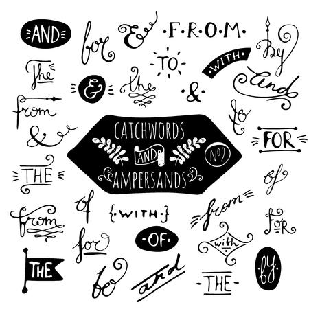 catchword: Big set number 2 of handdrawn ampersands and catchwords on white background. Design elements for banner, card, invitation, label, postcard, vignette, label, poster, emblem etc. Vector illustration.