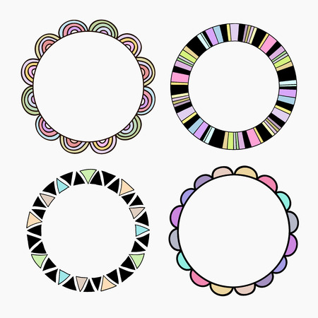 frill: Vector set of four different colored frames. Vector isolated illustration.