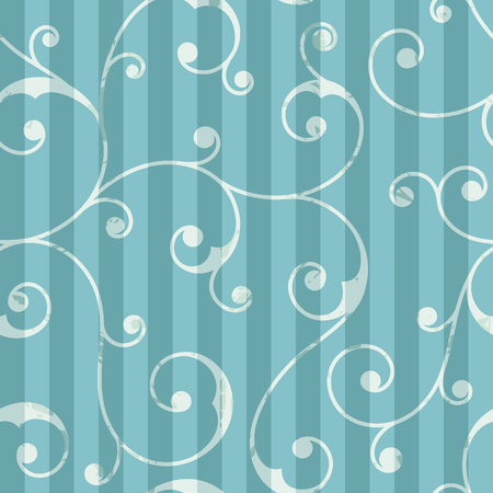 celadon green: Abstract seamless vintage pattern with vertical stripes and floral ornament. It can be used for wrapping paper, scrapbooking, wallpapers, textiles, wedding invitations. Vector illustration. Illustration