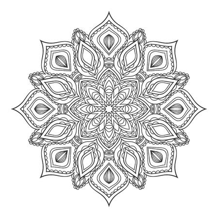 Mandala Redonda Decorativa étnica Para Colorear Libro. Página Para ...