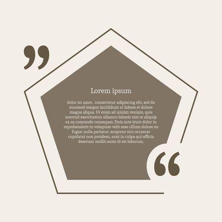 citation: Quotation mark speech bubble. Empty quote blank citation template. Pentagon design element for business card, paper sheet, information, note, message, motivation, comment etc. Vector illustration.