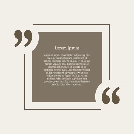 citation: Quotation mark speech bubble. Empty quote blank citation template. Square design element for business card, paper sheet, information, note, message, motivation, comment etc. Vector illustration. Illustration