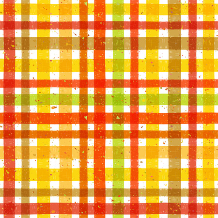 motley: Hand drawn tartan colorful seamless pattern with motley splatter. Grunge style pattern for background, textile, paper packaging and other design. Vector illustration.