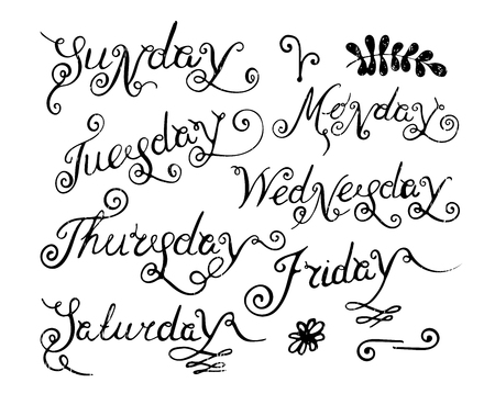 wednesday: Handwritten days of the week Monday, Tuesday, Wednesday, Thursday, Friday, Saturday and Sunday. Handdrawn calligraphy lettering for diary and banner, calendar and poster. Vector illustration. Illustration