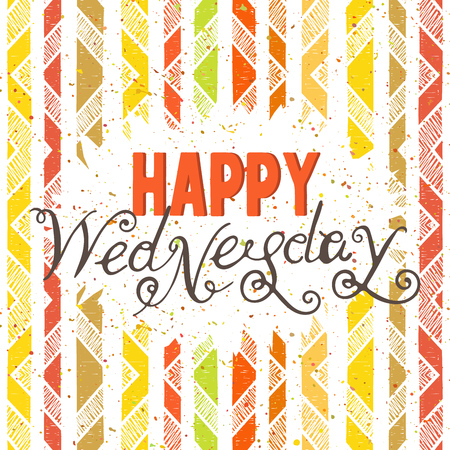 wednesday: Handwritten inscription Happy Wednesday on geometric colorful background. Hand drawn calligraphy lettering for banner, calendar, planner, poster, postcard, save the date card. Vector illustration.