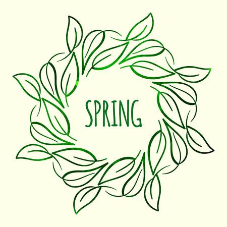 leaf line: Elegant green watercolour contour floral frame on white background. Design template for banner, card, monogram, invitation, label, emblem etc. Vector illustration.