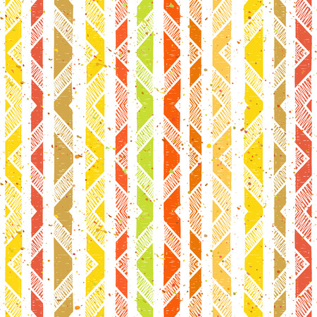 rhomb: Hand drawn striped colorful seamless pattern with motley splatter and white rhombs. Grunge style pattern for background, textile, paper packaging and other design. Vector illustration.