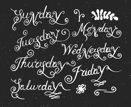 thursday: Handwritten days of the week Monday, Tuesday, Wednesday, Thursday, Friday, Saturday and Sunday. Handdrawn calligraphy lettering for diary and banner, calendar and poster. Vector illustration. Illustration