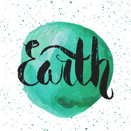 earth hands: Lettering. Poster for Earth day. Paint illustration of our planet. Design template for banner, card, monogram, invitation, label and emblem. Vector illustration.