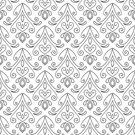 black: Abstract seamless hand drawn pattern on white background. Design element for background, textile, paper packaging, wrapping paper and other. Vector illustration.