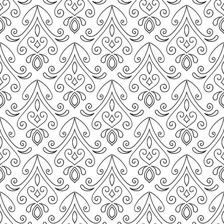 mano abstracto sin fisuras patrón dibujado sobre fondo blanco. elemento de diseño para el fondo, textiles, papel de embalaje, papel de embalaje y otros. Ilustración del vector. Ilustración de vector