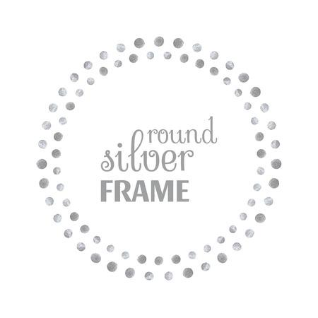 Rond zilveren frame van de punten op een witte achtergrond. Ontwerp sjabloon voor banner, wenskaart, monogram, uitnodiging, label, embleem enz. Vector illustratie.