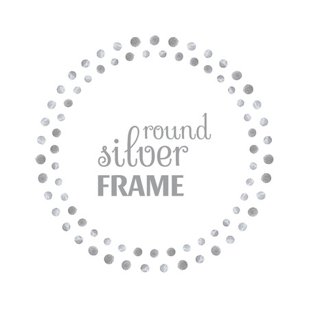 silver circle: Round silver frame of dots on white background. Design template for banner, greeting card, monogram, invitation, label, emblem etc. Vector illustration. Illustration