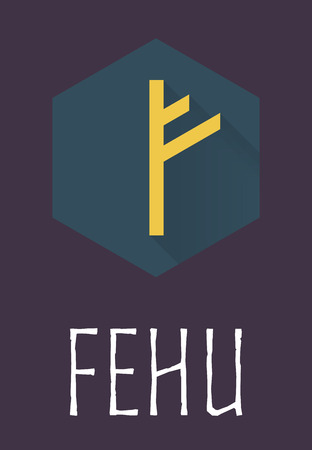 odin: Fehu rune of Elder Futhark in trend flat style. Old Norse Scandinavian rune. Germanic letter. Vector illustration.