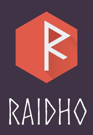 norse: Raidho rune of Elder Futhark in trend flat style. Old Norse Scandinavian rune. Germanic letter. Vector illustration.