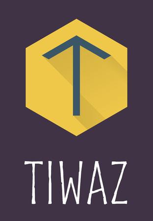 futhark: Tiwaz rune of Elder Futhark in trend flat style. Old Norse Scandinavian rune. Germanic letter. Vector illustration.