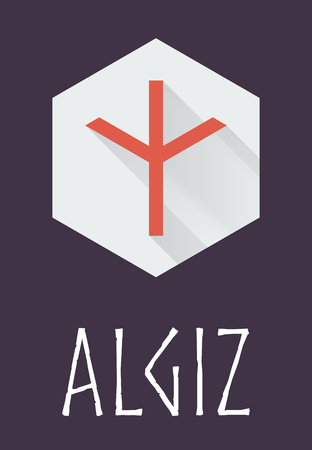 germanic: Algiz rune of Elder Futhark in trend flat style. Old Norse Scandinavian rune. Germanic letter. Vector illustration.