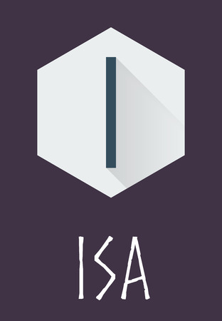 odin: Isa rune of Elder Futhark in trend flat style. Old Norse Scandinavian rune. Germanic letter. Vector illustration.