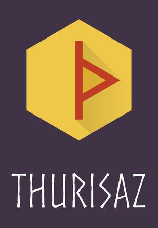 norse: Thurisaz rune of Elder Futhark in trend flat style. Old Norse Scandinavian rune. Germanic letter. Vector illustration.