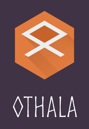 germanic: Othala rune of Elder Futhark in trend flat style. Old Norse Scandinavian rune. Germanic letter. Vector illustration.