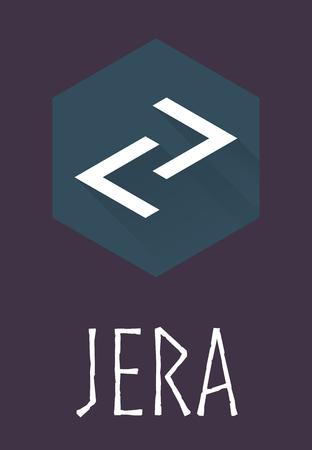 futhark: Jera rune of Elder Futhark in trend flat style. Old Norse Scandinavian rune. Germanic letter. Vector illustration.
