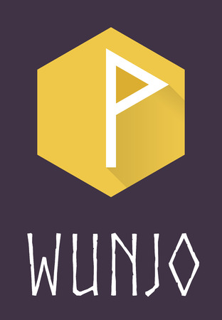 odin: Wunjo rune of Elder Futhark in trend flat style. Old Norse Scandinavian rune. Germanic letter. Vector illustration. Illustration
