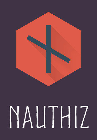 odin: Nauthiz rune of Elder Futhark in trend flat style. Old Norse Scandinavian rune. Germanic letter. Vector illustration.