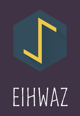 germanic: Eihwaz rune of Elder Futhark in trend flat style. Old Norse Scandinavian rune. Germanic letter. Vector illustration. Illustration
