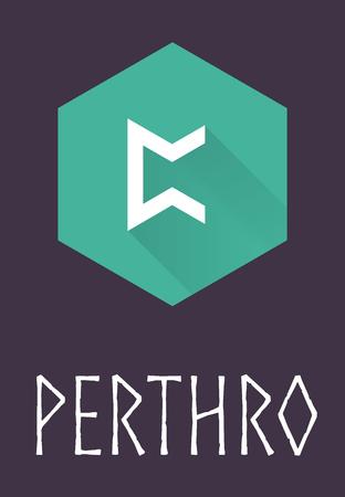 futhark: Perthro rune of Elder Futhark in trend flat style. Old Norse Scandinavian rune. Germanic letter. Vector illustration. Illustration