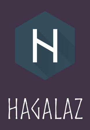 germanic: Hagalaz rune of Elder Futhark in trend flat style. Old Norse Scandinavian rune. Germanic letter. Vector illustration. Illustration