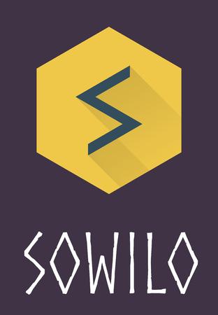 futhark: Sowilo rune of Elder Futhark in trend flat style. Old Norse Scandinavian rune. Germanic letter. Vector illustration.