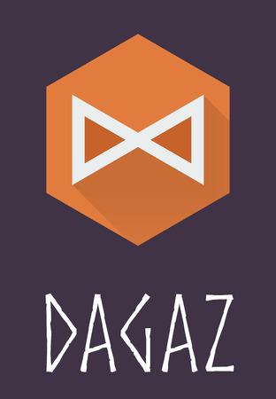 rune: Dagaz rune of Elder Futhark in trend flat style. Old Norse Scandinavian rune. Germanic letter. Vector illustration.