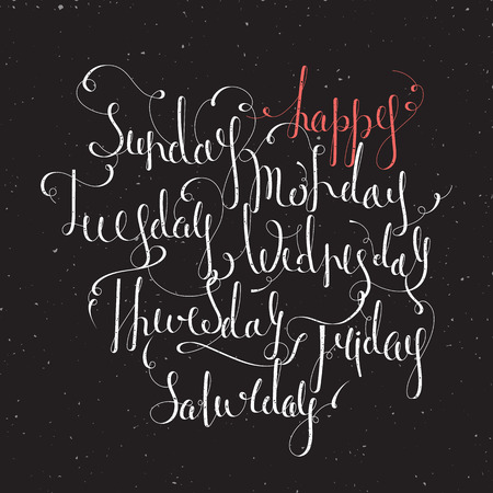 wednesday: Handwritten days of the week Monday, Tuesday, Wednesday, Thursday, Friday, Saturday, Sunday. Handdrawn calligraphy lettering for diary, banner, calendar and planner. Isolated vector illustration