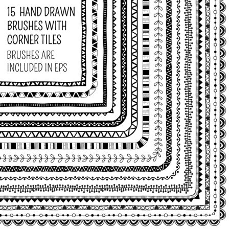 frill: Vector set of fifteen hand drawn brushes with corner tiles. Pattern of different colors for frames, borders and design elements. Vector isolated illustration. Brushes are included in eps.