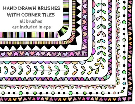 included: Vector set of nine hand drawn brushes with corner tiles. Pattern of different colors for frames, borders and design elements. Vector isolated illustration. Brushes are included in eps.