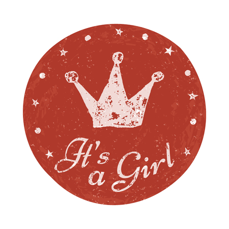 its: Its a girl label. Baby announcement card. Vector illustration for graphic design.