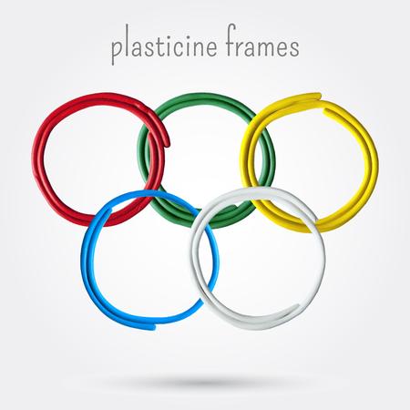 Set of five plasticine frames. Vector illustration.