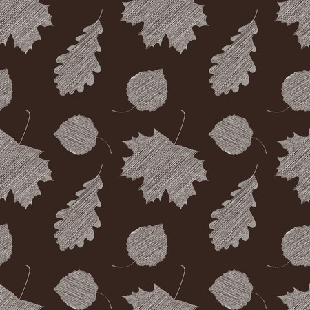 Scribble leaves seamless autumn pattern. Vector illustration.