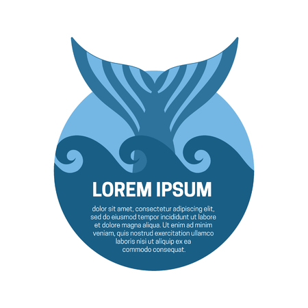 tail: Blue whale tail label. Vector isolated illustration.