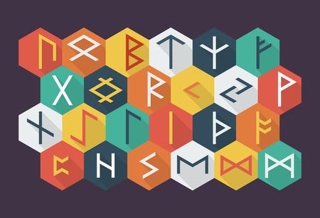 norse: Set of Elder Futhark runes in trend flat style. Old Norse Scandinavian runes. Germanic letter. Vector illustration.