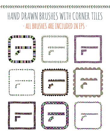 frill: Vector set of nine hand drawn brushes with corner tiles. Pattern of different colors for frames, borders and design elements. Vector isolated illustration. Brushes are included in eps.