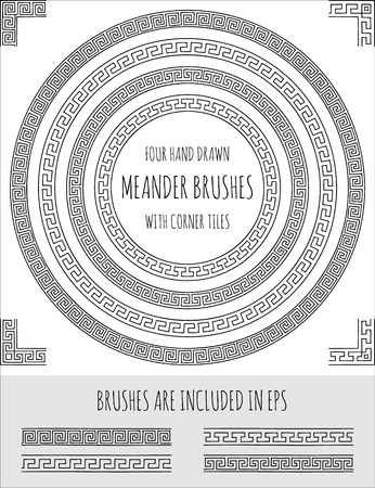 Vector set of four hand drawn meander brushes with corner tiles. Greek pattern for frames, borders and design elements. Vector isolated illustration. Brushes are included in eps.