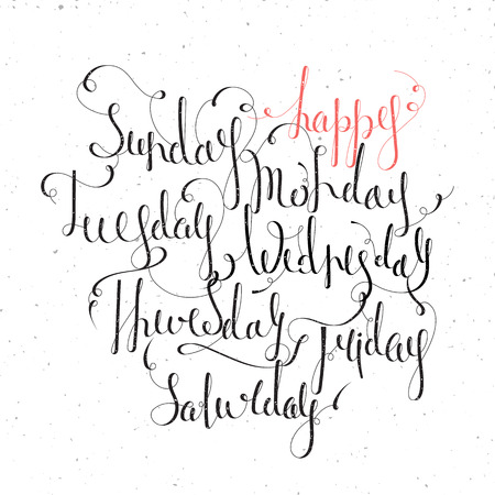 tuesday: Handwritten days of the week Monday, Tuesday, Wednesday, Thursday, Friday, Saturday, Sunday. Handdrawn calligraphy lettering for diary, banner, calendar and planner. Isolated vector illustration