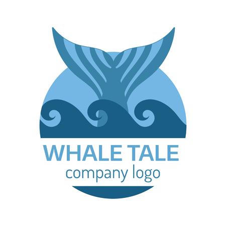 ballena azul: etiqueta de cola de la ballena azul. ilustraci�n vectorial aislado. Vectores