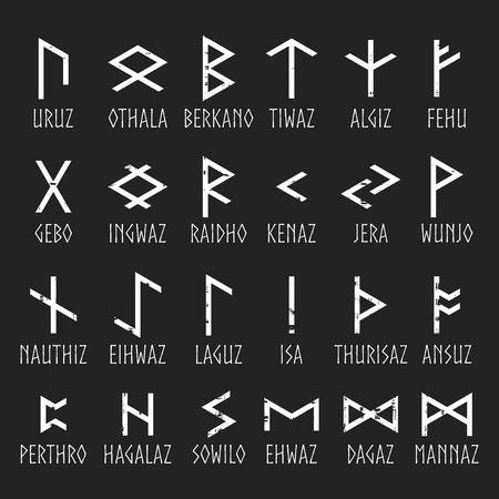 rune: Set of Elder Futhark runes with names in grunge style on black background. Old Norse Scandinavian runes. Germanic letter. Vector illustration. Illustration