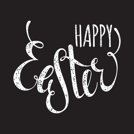 ostern: Happy Easter handwriting grunge inscription on black background. Calligraphy lettering design element for greeting cards, banners, posters, invitations, postcards. Vector illustration.